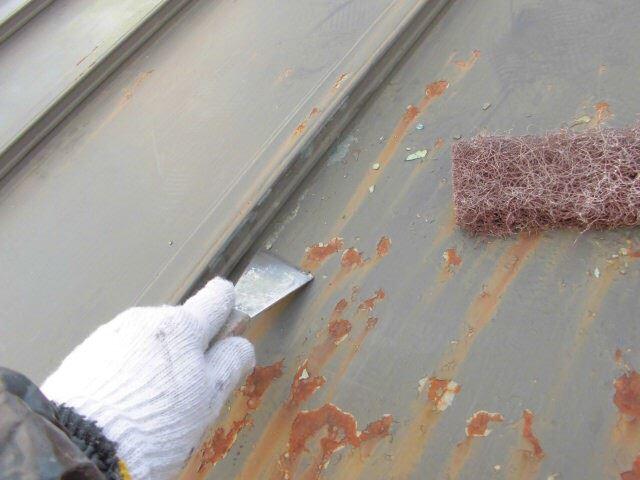 恵那市 屋根塗装 ケレン