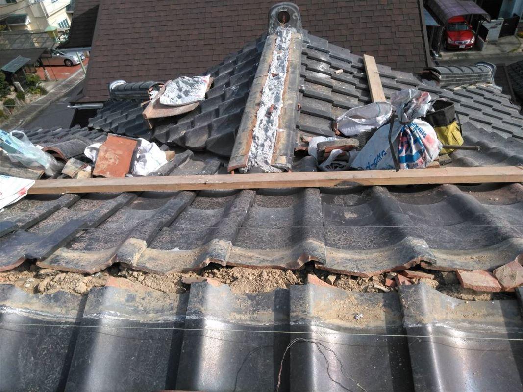 多治見市 屋根の補修 棟の積みなおし