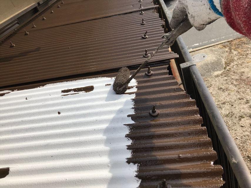 土岐市物置屋根塗り替え