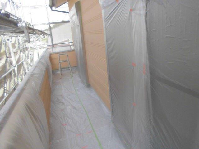 恵那市で外壁塗装 玄関養生