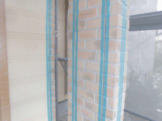 恵那市で外壁塗装 目地打ち替え養生