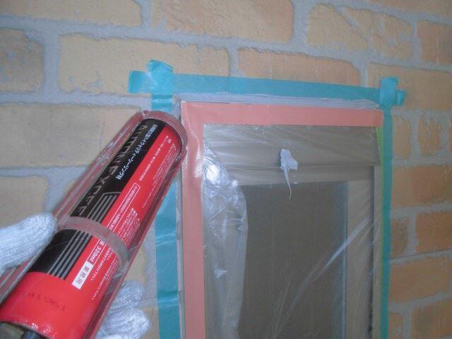 恵那市で外壁塗装 窓枠コーキング