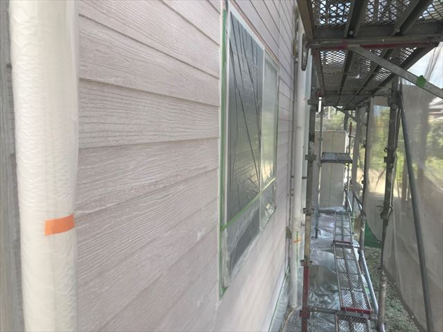 恵那市で外壁塗装下塗り完了