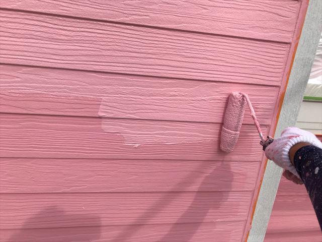 恵那市で外壁塗装上塗り