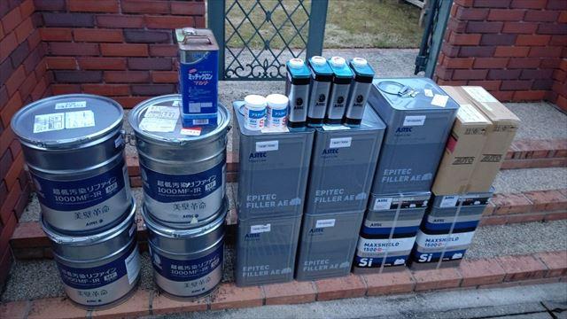 瑞浪市陶町で外壁塗装使用する塗料缶