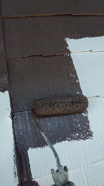 中津川市中津川で屋根外壁塗装屋根中塗り