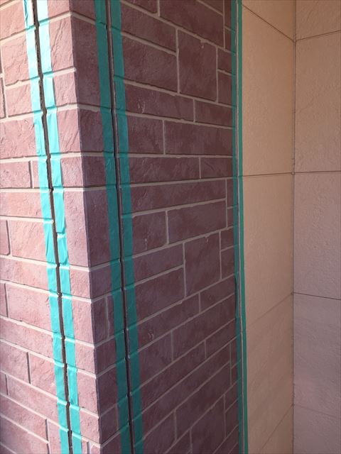 多治見市小名田町 外壁塗装 目地打設
