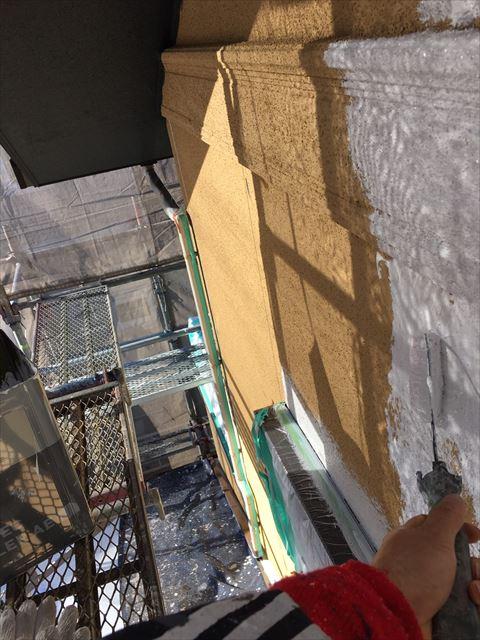 多治見市滝呂町で屋根外壁塗装工事外壁塗装1回目