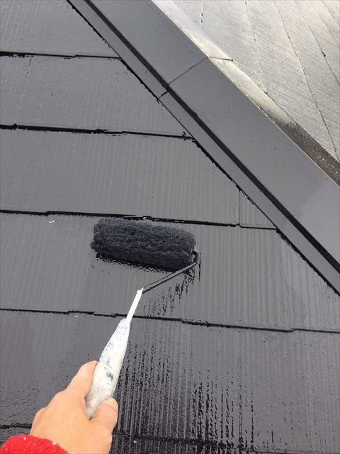 土岐市駄知町屋根外壁塗装屋根上塗り塗装