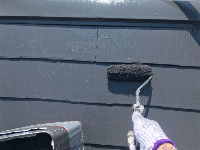 多治見市、上塗り屋根塗装
