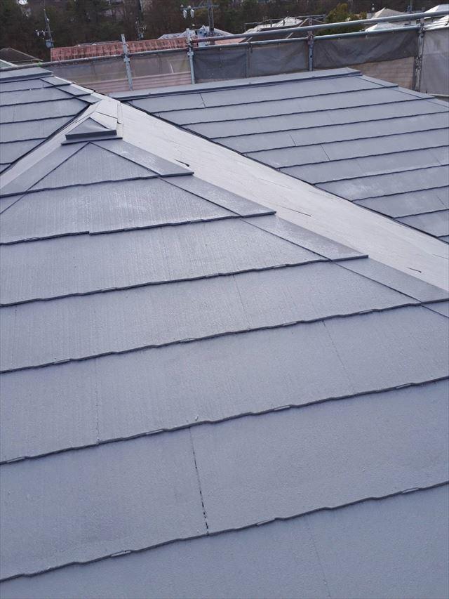 多治見市、屋根の上塗り完了