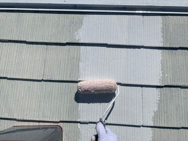 瑞浪市で屋根塗装下塗り2回目