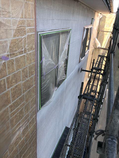 恵那市外壁塗装下塗り完成