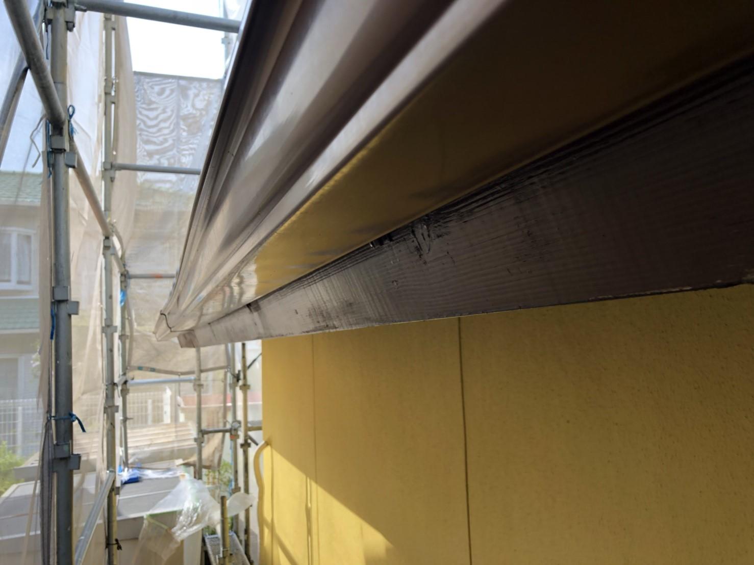 中津川市、破風板の塗装