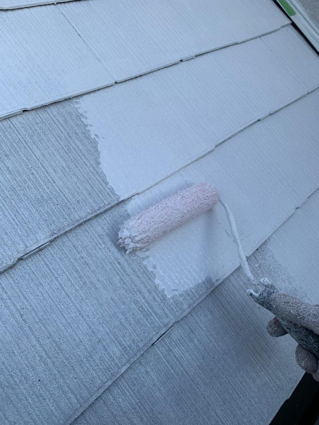 多治見市、屋根塗装下塗り2回目