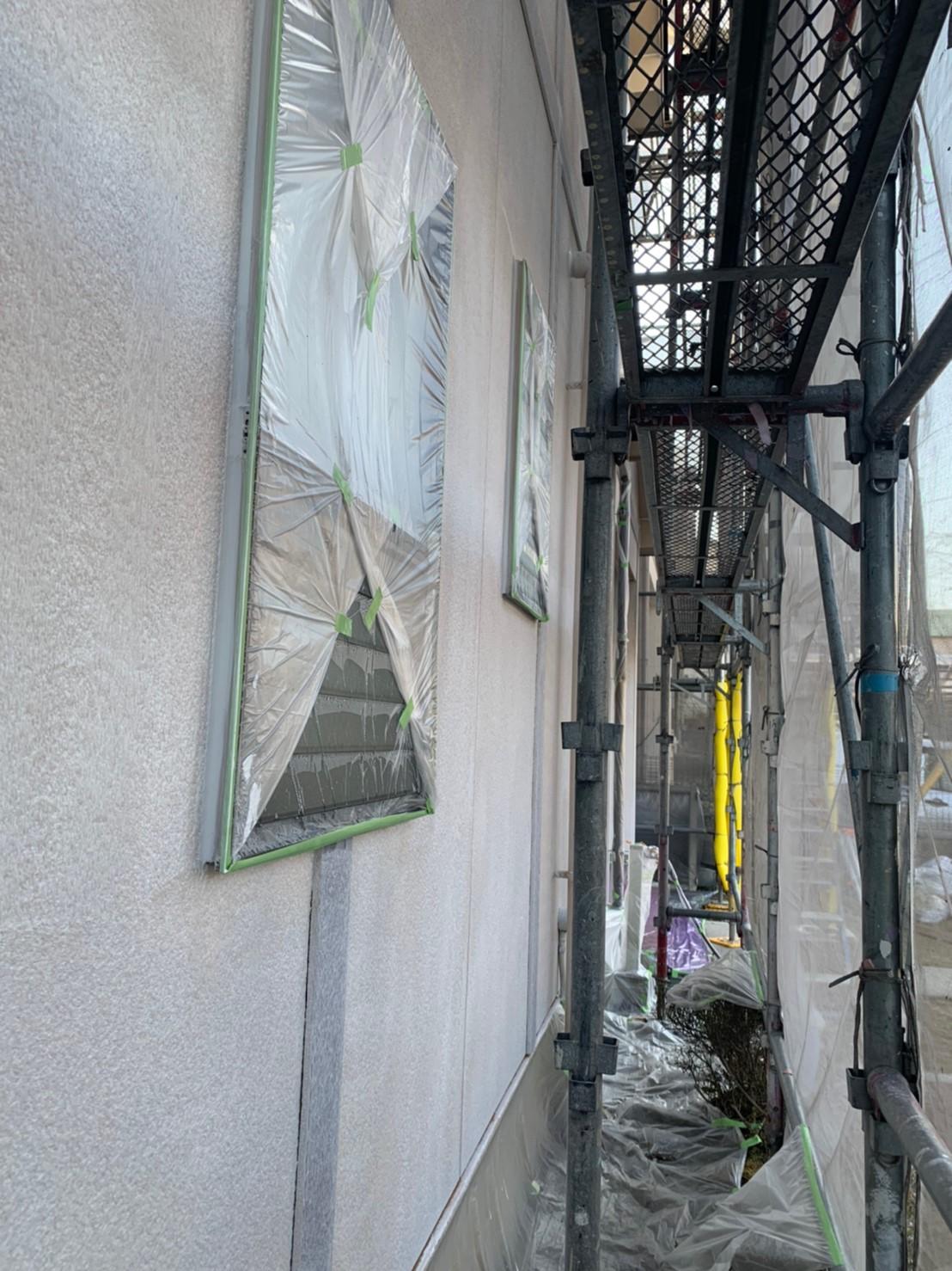 外壁塗装の下塗り完了、多治見市