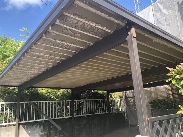中津川市、折半屋根洗浄