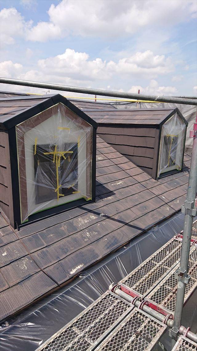 屋根の鳩小屋を養生