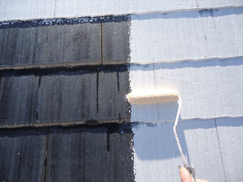 可児市スレート屋根下塗り