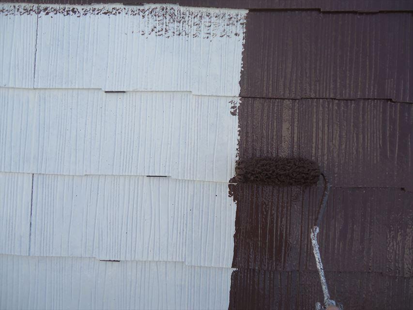 多治見市屋根塗り替え中塗り