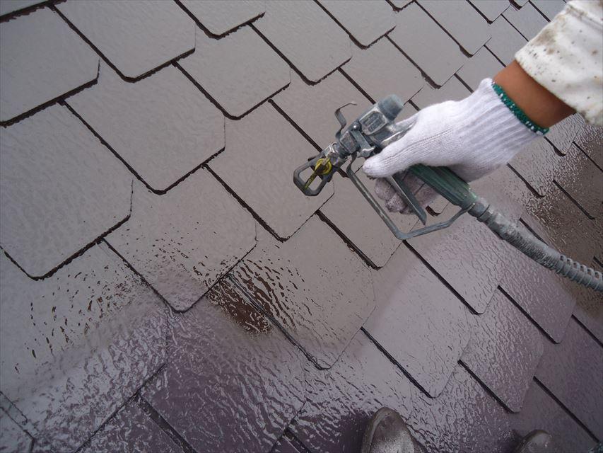 可児市屋根上塗り