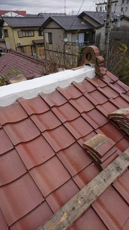 土岐 屋根の棟の積みなおし 防水漆喰