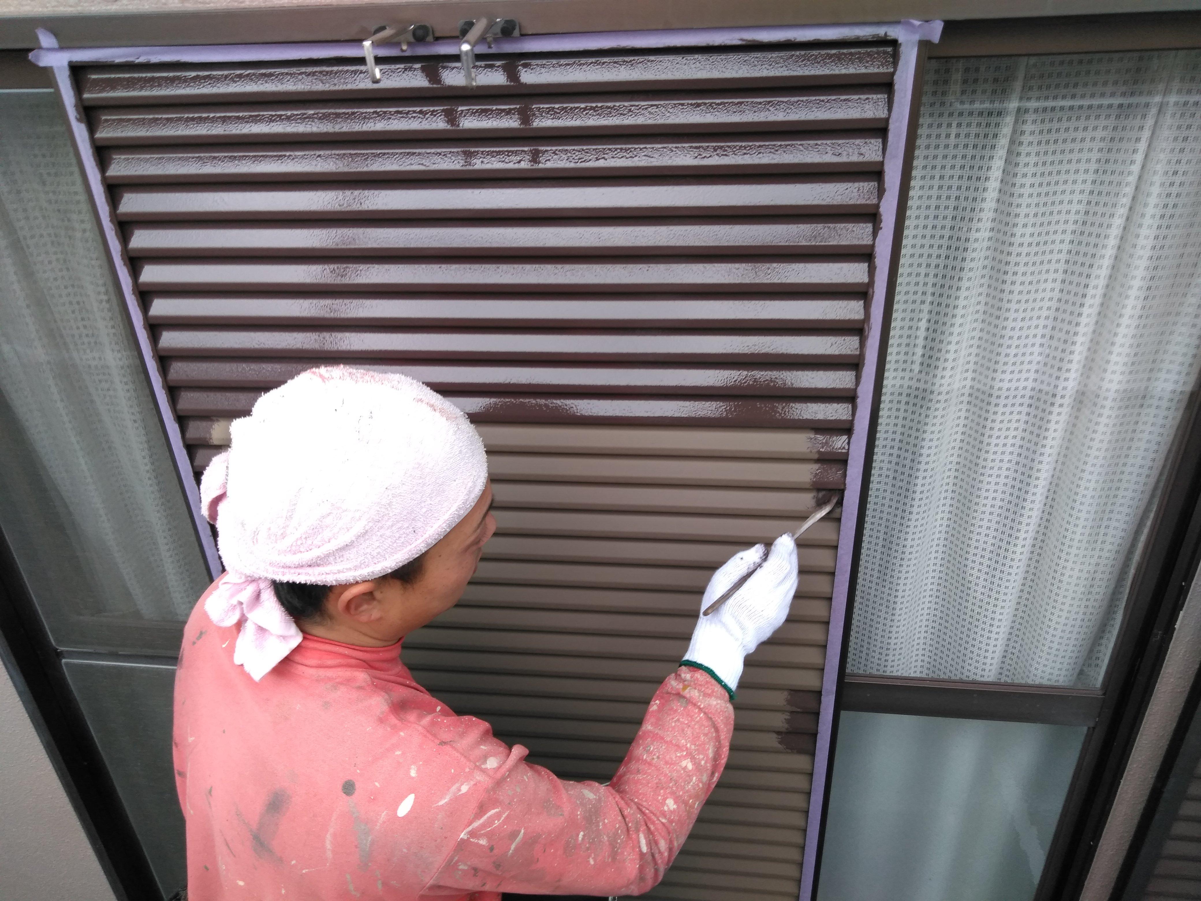 多治見 外壁塗り替え 雨戸の塗装 鉄部塗装