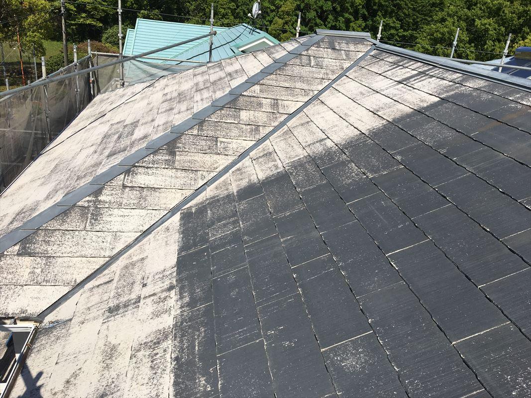 多治見市 屋根塗装前の下地処理 まずは洗浄