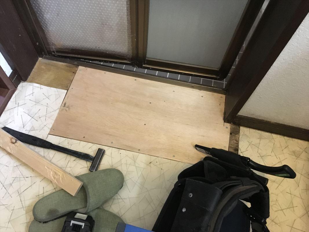 多治見市 お風呂と脱衣場の間の床の補修 脱衣場の床がフワフワ