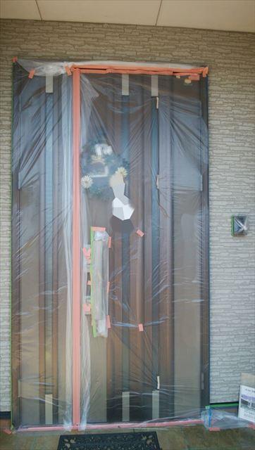 玄関ドア養生