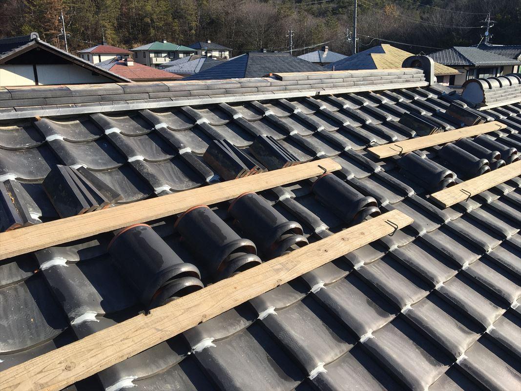 土岐市 瓦屋根のリフォーム 棟の積みなおし