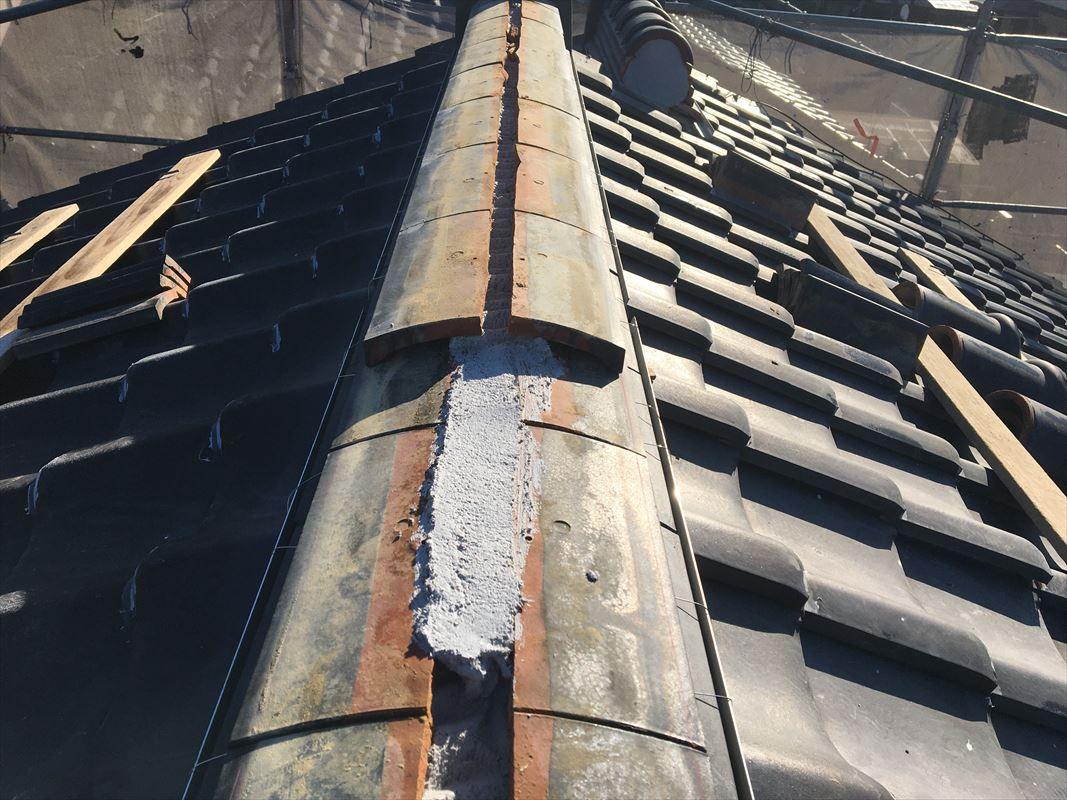 多治見市 屋根の工事 棟の積みなおし 瓦工事