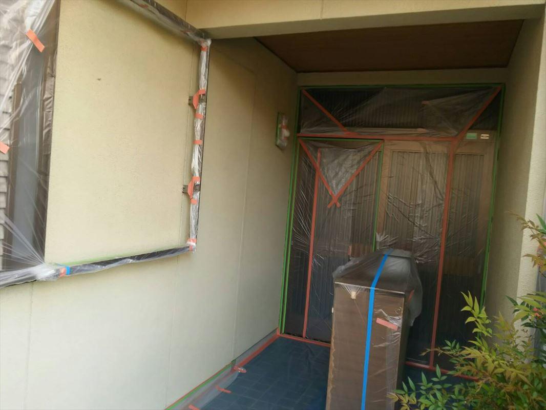 多治見外壁塗り替え 玄関養生