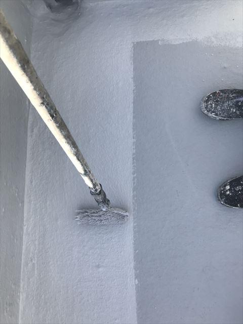土岐市屋上屋根防水仕上げ塗り