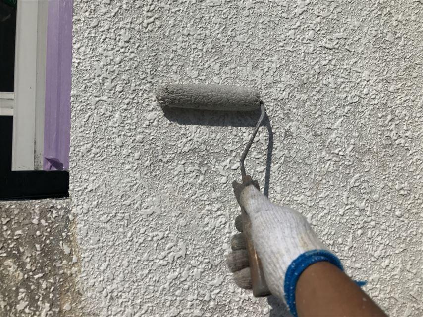 可児市ブロック塀下塗り