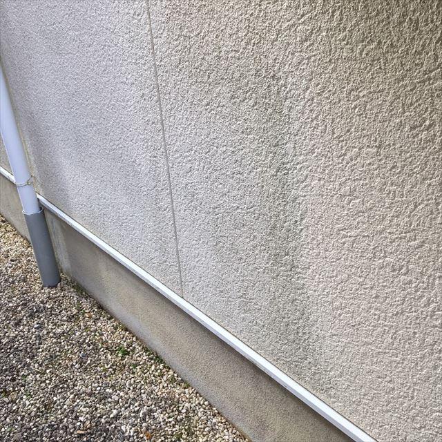 モルタル外壁が湿気を帯びています