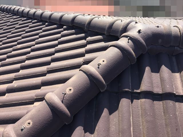 恵那市で瓦屋根のズレ調査