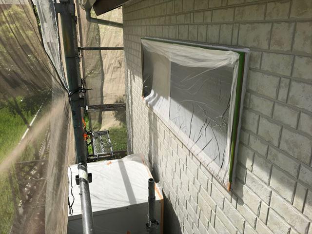 恵那市長島町で外壁塗装養生完了