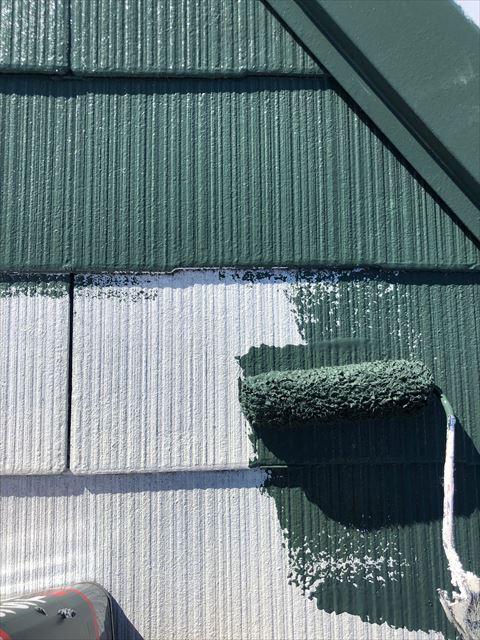 スレート屋根の中塗り塗装